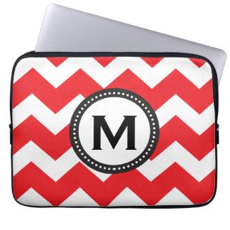 Red and white Chevron Monogram Laptop Computer Sleeve