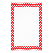 Red and White Chevron Pattern Stationery