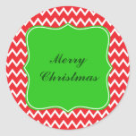 Red and White Chevron Pattern with Green Christmas Round Stickers