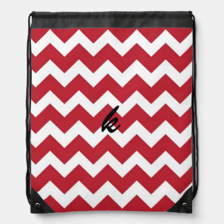 Red and White Chevron Stripe Drawstring Backpack