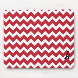 Red and White Chevron Stripe Mouse Pad
