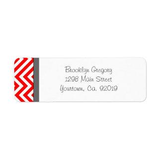 Red and White Chevron Stripe Return Address Label