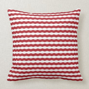 Beach Themed Red and White Chevron Stripe Throw Pillow