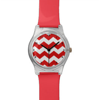 Red and White Chevron Watch