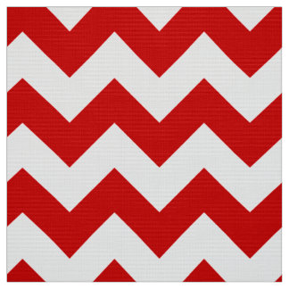 Red and White Chevron Zigzag Pattern Fabric