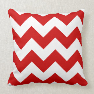 Red and White Chevron Zigzag Pattern Throw Pillow