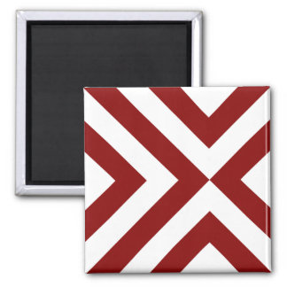 Red and White Chevrons 2 Inch Square Magnet