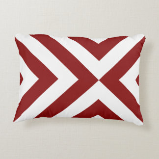 Red and White Chevrons Accent Pillow