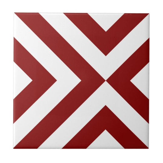 Red and White Chevrons Ceramic Tile