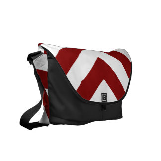 Red and White Chevrons Courier Bag