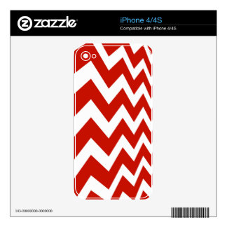 Red and White Chevrons Decals For The iPhone 4S