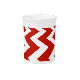 Red and White Chevrons Drink Pitcher