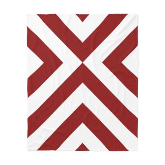 Red and White Chevrons Fleece Blanket
