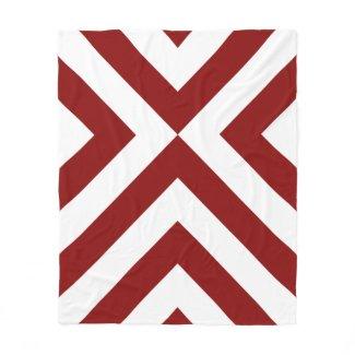 Red and White Chevrons Fleece Blanket