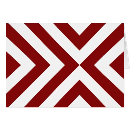 Red and White Chevrons Greeting Card