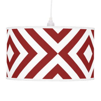 Red and White Chevrons Hanging Lamp