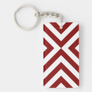 Red and White Chevrons Keychain