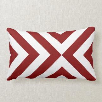 Red and White Chevrons Lumbar Pillow