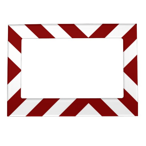 Red and White Chevrons Magnetic Photo Frames