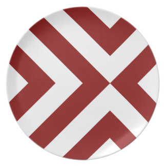 Red and White Chevrons Melamine Plate