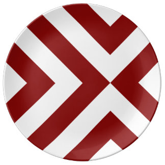 Red and White Chevrons Porcelain Plate