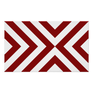 Red and White Chevrons Poster
