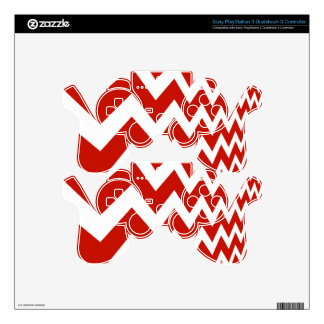 Red and White Chevrons PS3 Controller Skin