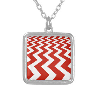 Red and White Chevrons Silver Plated Necklace