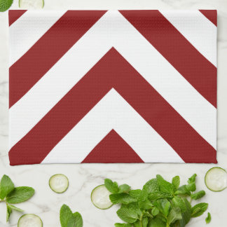 Red and White Chevrons Towels