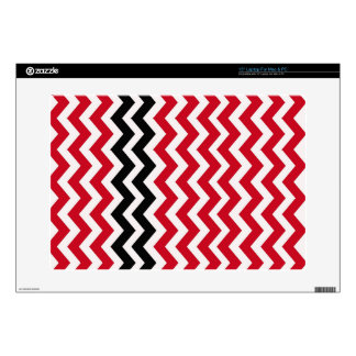 "Red and White Chevrons With Black 15"" Laptop Skins"