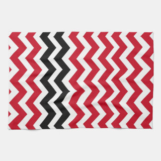 Red and White Chevrons With Black Hand Towels