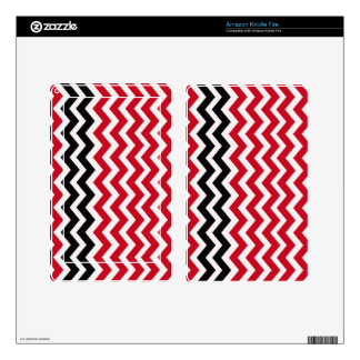 Red and White Chevrons With Black Kindle Fire Skin