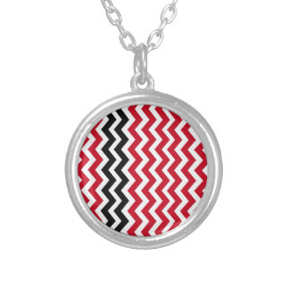 Red and White Chevrons With Black Silver Plated Necklace