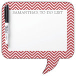 Red and White Chevrons with Custom Name Dry-Erase Board