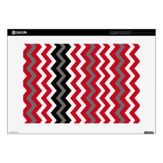 Red and White Chevrons With Gray Decals For Laptops