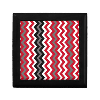 Red and White Chevrons With Gray Gift Box