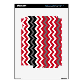 Red and White Chevrons With Gray iPad 3 Decal