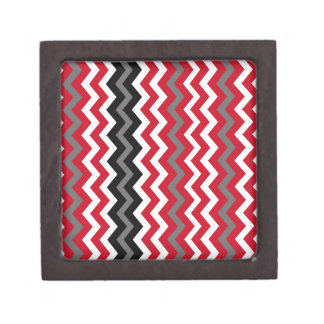 Red and White Chevrons With Gray Keepsake Box