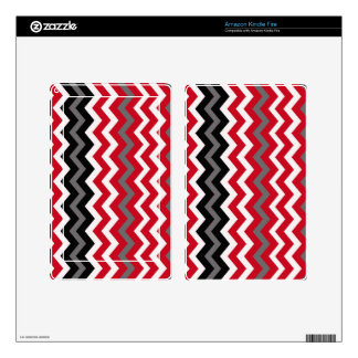Red and White Chevrons With Gray Kindle Fire Decal