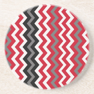 Red and White Chevrons With Gray Sandstone Coaster