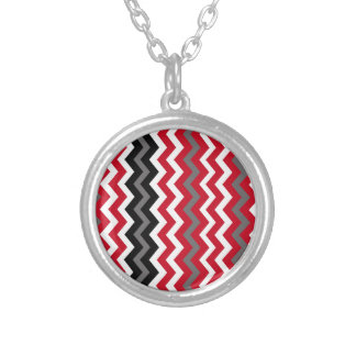 Red and White Chevrons With Gray Silver Plated Necklace