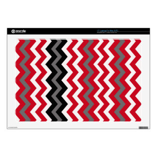 "Red and White Chevrons With Gray Skins For 17"" Laptops"