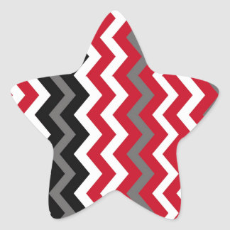 Red and White Chevrons With Gray Star Sticker