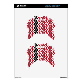 Red and White Chevrons With Gray Xbox 360 Controller Skins