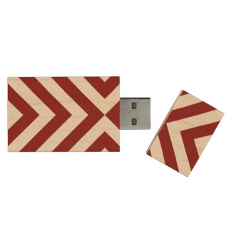 Red and White Chevrons Wood Flash Drive