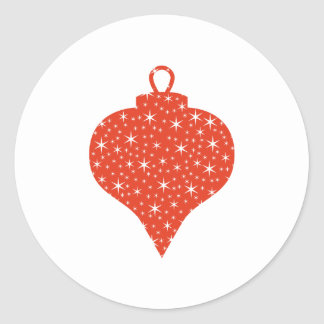 Red and White Christmas Bauble Design. Classic Round Sticker