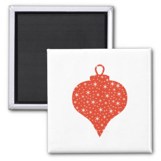 Red and White Christmas Bauble Design. Magnet