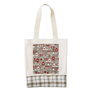 Red and White Christmas Candies and Gifts Pattern Zazzle HEART Tote Bag