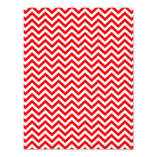 Red and White Christmas Chevron ZigZag 4.25x5.5 Paper Invitation Card