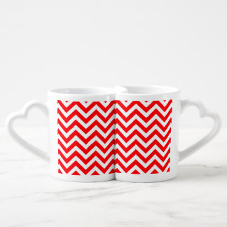 Red and White Christmas Chevron ZigZag Couple Mugs